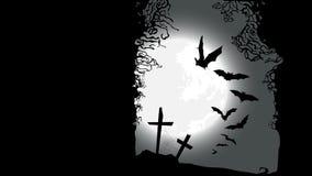 Halloweenowy horyzontalny sztandar - zniszczony cmentarz ilustracja wektor