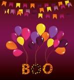 Halloweenowy karnawał z flaga girlandami z balonami na one Zdjęcie Stock