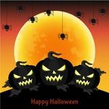 Halloweenowy kartka z pozdrowieniami z czarną księżyc i banią Obrazy Stock
