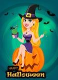 Halloweenowy kartka z pozdrowieniami Piękna damy czarownica jest ubranym pielgrzymich brzęczenia Obraz Royalty Free