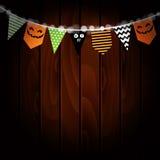 Halloweenowy kartka z pozdrowieniami Przyjęcie zaznacza dekorację Dyniowy projekt drewniany tła również zwrócić corel ilustracji  Obraz Royalty Free