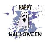 Halloweenowy kartka z pozdrowieniami Ręka rysujący ślicznego ducha ręki Abstrakcjonistyczny pa Obraz Stock