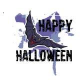 Halloweenowy kartka z pozdrowieniami Ręka rysujący czarny nietoperz Abstrakcjonistyczny ręki pai Obrazy Royalty Free