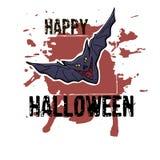 Halloweenowy kartka z pozdrowieniami Ręka rysujący czarny nietoperz Abstrakcjonistyczny ręki pai Fotografia Royalty Free