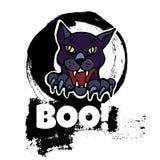 Halloweenowy kartka z pozdrowieniami Ręka rysujący zły czarny kot Abstrakcjonistyczny Han Zdjęcie Royalty Free
