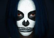 Halloweenowy kobiety czaszki makeup Fotografia Royalty Free