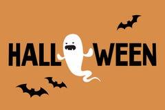 Halloweenowy konceptualny znak Zli ducha i czerni nietoperze royalty ilustracja