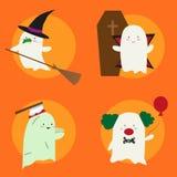 Halloweenowy kostiumowy ilustracyjny ustawiający z ślicznymi małymi duchami royalty ilustracja