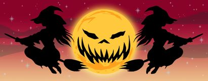 Halloweenowy loga sztandaru typ E ilustracja wektor