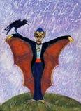 Halloweenowy Śmieszny Batcula z wroną Obraz Royalty Free