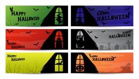 Halloweenowy nadokienny sylwetka sztandar Obraz Royalty Free
