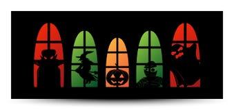 Halloweenowy nadokienny sylwetka sztandar Obraz Stock