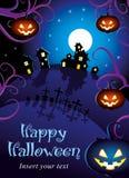Halloweenowy noc plakat Obrazy Stock
