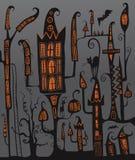 Halloweenowy nocy miasto ilustracja Kasztel ilustracji