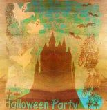 Halloweenowy nocy tło - nawiedzający dom Zdjęcie Stock