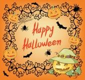 Halloweenowy nocy tło z baniami, pająkami i nietoperzem, Fotografia Royalty Free