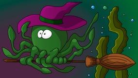 Halloweenowy ośmiornicy latanie na broomstick royalty ilustracja