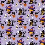 Halloweenowy o temacie bezszwowy wektoru wzór royalty ilustracja