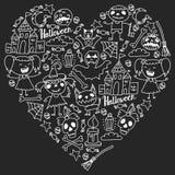 Halloweenowy o temacie doodle set Tradycyjni i popularni symbole - rzeźbiąca bania, partyjni kostiumy, czarownicy, duchy, potwory royalty ilustracja