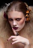 Halloweenowy piękno kobiety makeup Zdjęcia Royalty Free