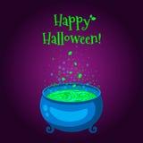 Halloweenowy plakat z ślicznym kotłem Zdjęcia Stock