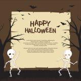 Halloweenowy plakat z Śmiesznym przerażającym kreskówka stylu projektem ilustracja wektor