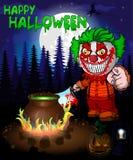 Halloweenowy plakat z błazenem trzyma knif również zwrócić corel ilustracji wektora Obraz Stock