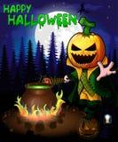 Halloweenowy plakat z Dyniowymi postać z kreskówki w lasowym Wektorowym ilustration royalty ilustracja