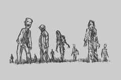 Halloweenowy pojęcie żywego trupu tłumu odprowadzenie wokoło miasta Zdjęcie Stock