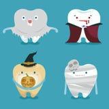 Halloweenowy pojęcie zębu set ilustracja wektor