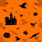 Halloweenowy pomarańczowy bezszwowy wzór Zdjęcia Stock