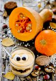 Halloweenowy potwora deser w szkle zdjęcie royalty free