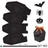 Halloweenowy prezenta pudełko z etykietką ilustracja wektor