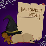 Halloweenowy projekta szablonu kartka z pozdrowieniami również zwrócić corel ilustracji wektora Zdjęcia Stock
