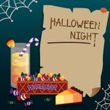 Halloweenowy projekta szablonu kartka z pozdrowieniami również zwrócić corel ilustracji wektora Obrazy Royalty Free