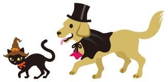 Halloweenowy przebranie, kot i pies, royalty ilustracja