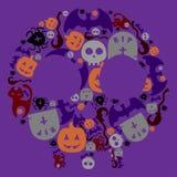 Halloweenowy ręka rysunek ustawiający elementy Pełny kolor Fotografia Stock