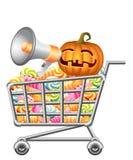Halloweenowy shoppingcart Zdjęcia Stock