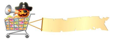 Halloweenowy shoppingcart i sztandar Obraz Stock