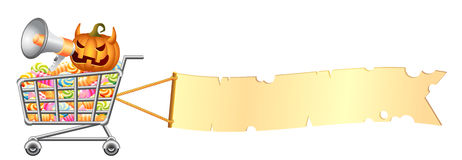 Halloweenowy shoppingcart i sztandar Obrazy Stock
