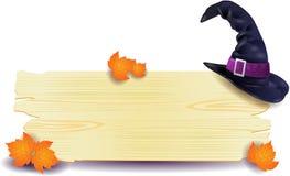 Halloweenowy signboard z kapeluszem Zdjęcie Stock