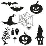 Halloweenowy Silhouetten - set Zdjęcie Stock