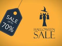 Halloweenowy sprzedaż plakat Dyskontowy majcher z seksownym Obrazy Stock