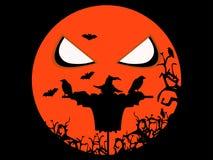 Halloweenowy straszny strach na wróble, kruki i nietoperze, halloween wakacyjny ilustraci wektor royalty ilustracja