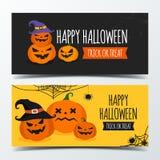 Halloweenowy sztandaru projekta szablon dekoruje z banią tworzy obok royalty ilustracja