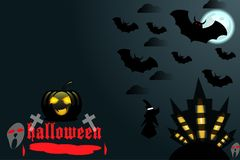 Halloweenowy tło jest dziki z ciemnym tłem behind Zdjęcie Stock