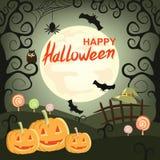 Halloweenowy tło z baniami, pająkami, nietoperzami, czarownica kapeluszem i cukierkiem, Zdjęcia Royalty Free