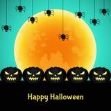 Halloweenowy tło z czarną banią, księżyc Obrazy Stock