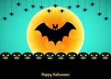 Halloweenowy tło z dyniową sylwetką, księżyc i nietoperzem, Zdjęcie Stock