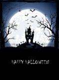 Halloweenowy tło z kasztelem Obraz Stock